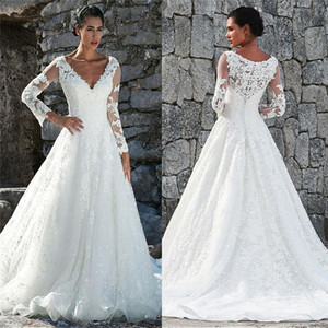 Vintage V-Neck Long Sleeves Lace Appliques Wedding Dresses 2020 Custom Made Women Fashion Bridal Gowns Spring Retro Bride Robe De Mariage