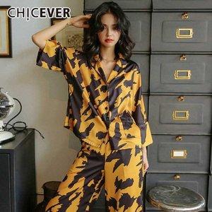 CHICEVER Vintage impresión del color del golpe de dos piezas de las mujeres collar de la solapa camisa de manga corta de cintura alta pantalones manchas Traje Femenino 2020 Nueva XqxO #