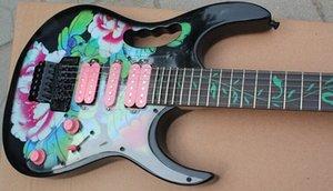 RARE 24 Frets 7 Fleur Motif Guitare électrique noire Tree Of Life Fretboard Inlay, Floyd Rose Tremolo Bridge, matériel noir, rose # Choisissez y9iB