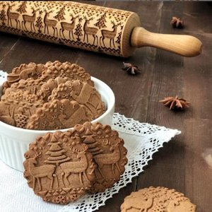 Christmas Wooden Rolling Pin New Snowflake Printed Embossing Baking Cookies Noodle Biscuit Fondant Cake Reindeer Patterned Roller WY781Q