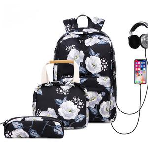 2020 mulheres de Moda de Nova impressão original de três peças Set Waterproof Almoço Estudante Laptop Bag Viajar Diário
