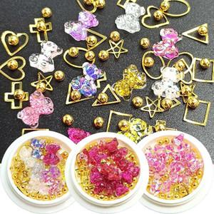 1 boîte perles semi-ronde rivets nail art ours de résine strass mixte combinaison multi-styles de décoration mis en fournitures à ongles 3D