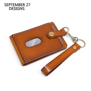 Genuine Leather Vertical Style ID Badge Holder Retractable Lanyard Neck Strap Or Keychain Cow Holder Id Card Case
