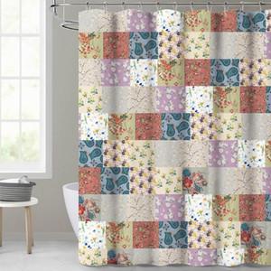 NICETOWN Impressão criativa cortina de chuveiro à prova d'água poliéster cortina de banheiro com 12 ganchos