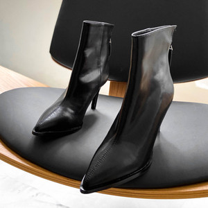 DEAT 2020 New Spring Autumn Fashion Casual High Heels Black Pointed Bottom Thick Solid Color Single Short Boot Shoes Women SF190