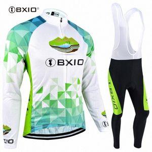 À manches longues d'hiver en polaire cyclisme Jersey BXIO femme Ensembles Respirant pleine Zipper vélo sport vélo Clothings 040 EKpr #