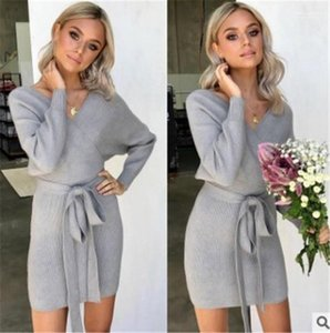 Neck Dress Casual Long Sleeve Slim Dresses Womens Designer Solid Knit Dresses Autumn Winter Deep V