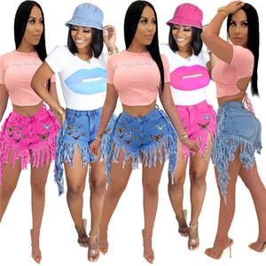Женская дизайнер Бабочка шорты середины талии кисточкой шорты Мода Кнопка Fly Шорты Женщина Ропа De Mujer