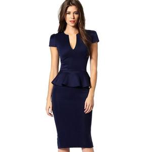 LCW 새로운 패션 여자 Peplum 우아한 섹시한 깊은 V 목 캡 슬리브 튜닉 슬림 캐주얼 파티 클럽 Clubwear Bodycon 칼집 연필 드레스