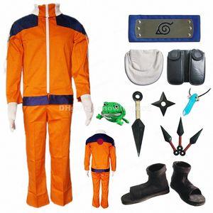 Uzumaki Naruto Cosplay Costume Whole Set Childhood edition V1 Coat Pants Weapon Prop Mens Halloween Clothing