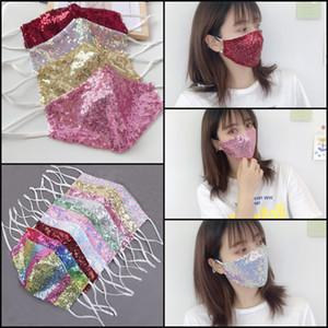 50 adet DHL Moda Bling 3D Yıkanabilir Kullanımlık Yüz Maskesi PM2.5 Kalkan Sequins Parlak Yüz Kapak Montaj Maskeleri Yetişkinler Için Anti-Toz Bez Maske
