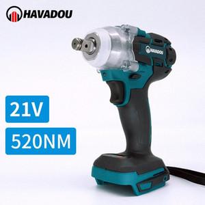 HAVADOU 21V eléctrico sin escobillas Llave de Impacto Taladro Rechargeable1 / 2 Llave de cubo herramienta eléctrica sin cuerda uPzn #