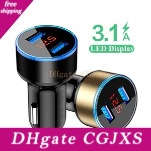 3 .1a Doppel-Auto-Aufladeeinheit 2 Port LCD-Display 12 -24 V Cigarette Lighter Sockel Fast Car Charger Power Adapter Car Styling