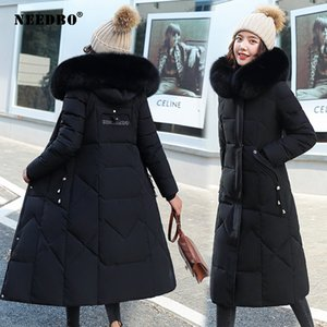 NEEDBO Длинная Зимняя куртка Женщины Мех с капюшоном утепленная вскользь пальто Зимняя куртка Негабаритные Теплый черный Puffer пальто леди