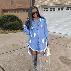 Платье с длинным рукавом весна рваные джинсы кисточкой конструктора платья Женщины Hiphop Denim Blue Jean рубашка