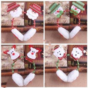 Xmas Симпатичного Earmuffs Зима уха Keep Warm Cotton Ear Muffs 3D Сант снеговик Reindeer Printed Праздник партия Галстуки Шляпа WY195Q