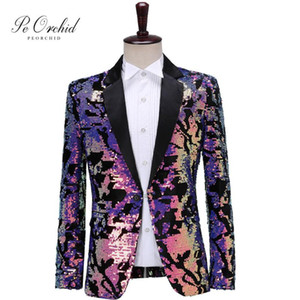 PEORCHID Colorful Sequin Blazer Jacket Men Casual Coat Two Tone Club Singer Wedding Groom Wear Prom Tuxedo Slim Fit Suit Jacket