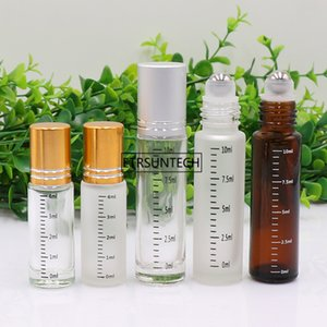 100pcs 4ml 10ml Glass Roll On Bottles Essential Oil Vials Empty Refillable Perfume Bottle With Scale F3532