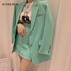 Luck A women spring fashion suit office lady blazer&skirts sets high waist skirt two-piece single breasted outwears
