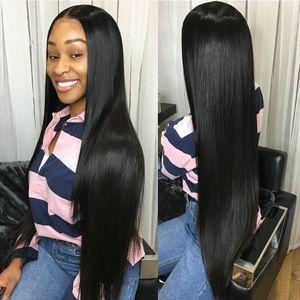 Düz Tutkalsız 13x6 Dantel Ön İnsan Saç Peruk Siyah Kadınlar Brezilyalı 360 Frontal Peruk Pretted