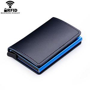 100% Genuine Leather Holder Aluminum Business ID Cardholder Slim Metal Card Case Mini Wallet For Men