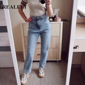 Realeft 2020 New Summer Vintage taille haute droite Pantalons Boutons Streetwear desserrées Zipper Femme Jeans
