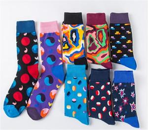 Красочные моды Happy Socks Man хлопок жаккардовые носки высокого качества носки середины икры с забавным рисунком