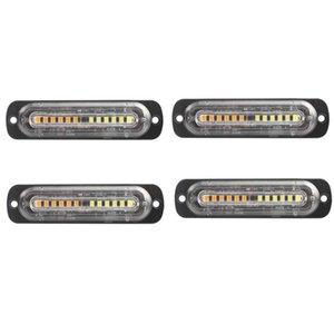 4PCS Strobe Light Spia, 12 LED Mini Strobe Bar Compatibile con 12V-24V del veicolo, Tow Truck Van