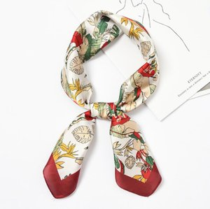Wholesale 12pcs New 70x70cm Women Multifunction Polyester Silk Scarf Colorful Leaves Printed Satin Small Square Wraps Scarves Shawl