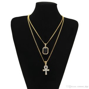 Men S Egyptian Ankh Key Of Life Necklace Set Bling Iced Out Cross Mini Gemstone Pendant Gold Silver Chain For Women Hip Hop Jewelry g01