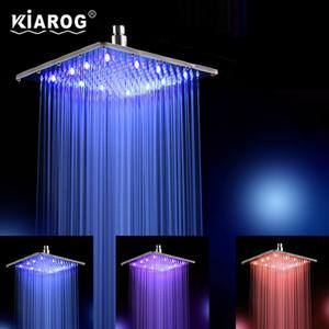 Desarrollado 12 pulgadas de agua 30cm * 30cm 3 colores llevada precipitación Head.Bathroom Ducha cambio LED Showerhead Sin Arm.Chuveiro Ducha