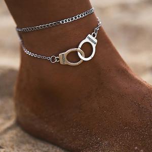 Özgürlük Kelepçe halhal zincir Gümüş Altın zincirleri Çok Katmanlı Wrap Ayak Zinciri kadın yaz plaj moda takı olacak ve kumlu hediye