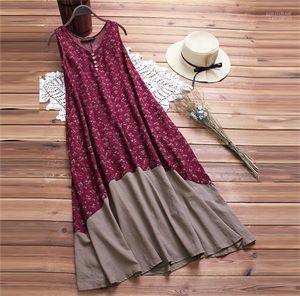 Button-böhmisches Kleid mit V-Ausschnitt Hot Sleeeveless Mitte Kalb Kleid-Strand-Kleid Weibliche Kleidung Taschen Tiered
