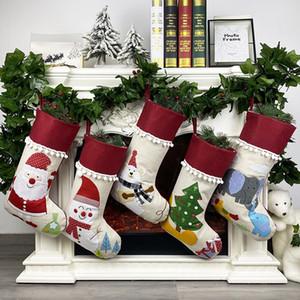 Natale Lino Calza Babbo Albero di Natale attaccatura dei calzini di natale per bambini Regali sacchetti di immagazzinaggio Albero di Natale a sospensione sacchetto del regalo DHD972