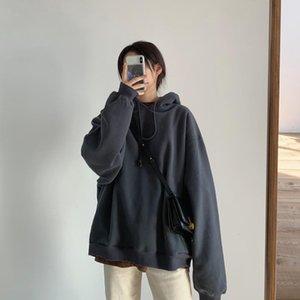Two Hat Hoodie! Sense Of Design Shuang Ceng Mao Autumn Winter Thick Warm Plus Velvet Versatile Hoodie Coat Womens  40