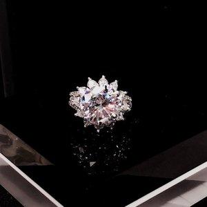 Marca Pure 925 joyería de plata esterlina para las mujeres grandes de la flor Anillos CZdiamond joyería de los anillos de boda anillo de compromiso de la rama de lujo