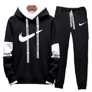 Moda corrientes de los hombres ropa deportiva diseñador de traje con capucha de los hombres de la chaqueta + pantalones de alta calidad ocasional 2020 traje de dos piezas M-4XL