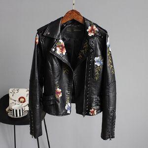 2020 Marca Top Mulheres Jaquetas Floral Imprimir Bordados couro macio Feminino Jacket Brasão Casual PU Motocicleta Punk Casacos