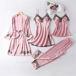Kamucc New 4 Pieces Mulheres Faux Silk Pijamas Pijamas Define elegante Sexy Lace Moda Primavera Outono Homewear