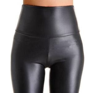 Femmes Noir extensible Faux cuir taille haute Pantalon gaine Leggings Sexy Push Up Leggings Skinny Pantalons pour femmes
