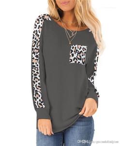 Tees diario de mujer con cuello redondo de las señoras de las tapas diseñador para mujer de otoño con paneles de camisetas Moda Leopard Impreso Loose