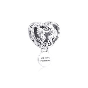 New 925 sterling silver hollow seahorse heart pendant suitable for Pandora necklace beaded European bracelet Valentine's Day DIY jewelry