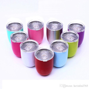 9 Styles 10oz Egg Shape Mug Stainless Steel Glass With Lid Double Wall Wine Tumbler Beer Coffee Cups 08