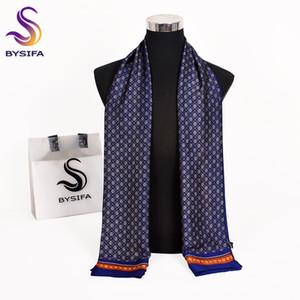 [BYSIFA] novíssimo Homens Lenços Outono Inverno Moda Masculina Aqueça Azul marinho longo lenço de seda lenço de alta qualidade Scarf 170 * 30 centímetros CX200819