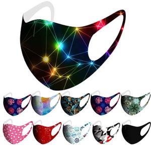 máscaras baratas Cara de moda máscara para adultos, mujeres, hombres impresos máscara de seda de hielo de dibujos animados pintura estrellado cielo de fuegos artificiales camo a prueba de polvo máscaras bucales