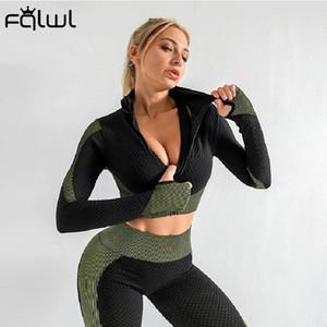 FQLWL Patchwork Zipper 2 Two Piece Set Women Long Sleeve Crop Top Leggings Women Outfits Fitness Elastic Ladies Tracksuit Female X0923