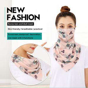 Super gran 60cm protector solar máscara para las mujeres cuello guardia Perla gasa estampada máscara transpirable a la cara cubierta de velo pañuelo de seda triangular