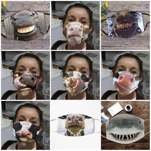 Toz geçirmez Bezi Yüz Pamuk mascarilla Havalandırma Kişilik Kadın Adam 3D Dijital At Domuz İnek Köpekbalığı Spoof 4 5JQ D2 Maske