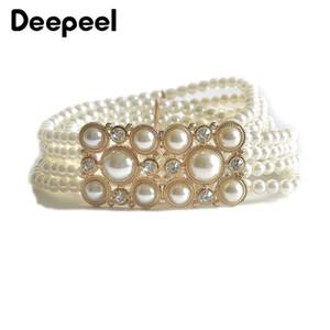 Deepeel 1pc3.2 * 72cm femmes strass perles larges Cummerbund Elastique Sweet Dress Ceinturon Décorations femmes Vêtements Accesoories