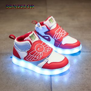 Benzelor Nueva Iluminar Usb Zapatos recargables de LED que parpadea Niño Niña Deportes leves infantil Aclarar flash Glisten